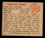 1950 Bowman #83  Sheldon Jones  Back Thumbnail