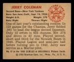 1950 Bowman #47   Jerry Coleman Back Thumbnail
