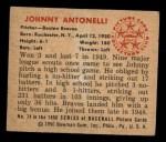 1950 Bowman #74   Johnny Antonelli Back Thumbnail