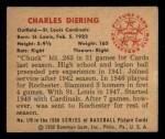 1950 Bowman #179  Chuck Diering  Back Thumbnail