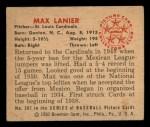 1950 Bowman #207   Max Lanier Back Thumbnail