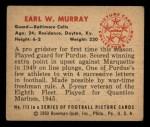 1950 Bowman #113  Earl Murray  Back Thumbnail