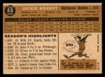1960 Topps #53   Jackie Brandt Back Thumbnail
