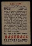 1951 Bowman #137  Dick Starr  Back Thumbnail