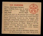 1950 Bowman #17  Sid Hudson  Back Thumbnail