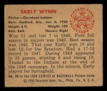 1950 Bowman #148   Early Wynn Back Thumbnail