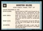 1964 Topps #88   Houston Oilers Back Thumbnail