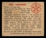 1950 Bowman #170  Emil Leonard  Back Thumbnail