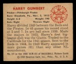 1950 Bowman #171   Harry Gumbert Back Thumbnail