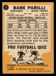 1967 Topps #2  Babe Parilli  Back Thumbnail