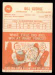 1963 Topps #70   Bill George Back Thumbnail