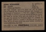 1952 Bowman Small #72   John Schweder Back Thumbnail