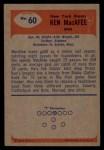 1955 Bowman #60   Ken MacAfee Back Thumbnail