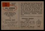 1954 Bowman #17   Bill Bowman Back Thumbnail