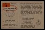 1954 Bowman #11   Zeke Bratkowski Back Thumbnail