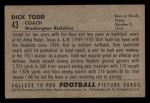 1952 Bowman Small #43   Dick Todd Back Thumbnail