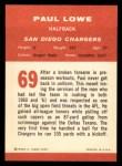 1963 Fleer #69   Paul Lowe Back Thumbnail