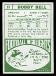 1968 Topps #93  Bobby Bell  Back Thumbnail