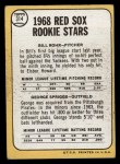 1968 Topps #314  Red Sox Rookies  -  Bill Rohr / George Spriggs Back Thumbnail