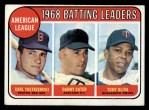 1969 Topps #1  1968 AL Batting Leaders  -  Carl Yastrzemski / Danny Cater / Tony Oliva Front Thumbnail