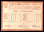 1964 Topps #139  1963 World Series - Game #4 - Sealing Yanks' Doom - Frank Howard  Back Thumbnail