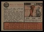 1962 Topps #190 POR  Wally Moon  Back Thumbnail