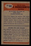 1955 Bowman #84  Bob Hoernschemeyer  Back Thumbnail