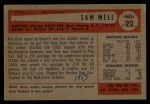 1954 Bowman #22 ALL Sam Mele  Back Thumbnail