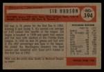 1954 Bowman #194  Sid Hudson  Back Thumbnail