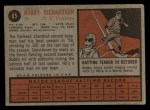 1962 Topps #65  Bobby Richardson  Back Thumbnail