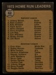 1973 Topps #62  HR Leaders  -  Johnny Bench / Rich Allen Back Thumbnail