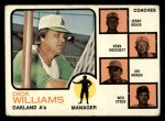 1973 Topps #179 BRN A's Leaders  -  Dick Williams / Jerry Adair / Vern Hoscheit / Irv Noren / Wes Stock  Front Thumbnail