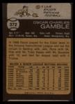 1973 Topps #372   Oscar Gamble Back Thumbnail