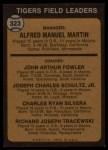 1973 Topps #323  Tigers Field Leaders  -  Billy Martin / Art Fowler / Joe Schultz / Charlie Silvera / Dick Tracewski Back Thumbnail
