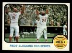 1973 Topps #208  1972 World Series - Game #6 - Reds' Slugging Ties Series  -  Johnny Bench / Denis Menke / Bobby Tolan Front Thumbnail