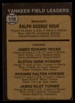 1973 Topps #116 NAT Yankees Field Leaders  -  Ralph Houk / Jim Hegan /  Elston Howard / Dick Howser / Jim Turner Back Thumbnail