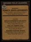 1973 Topps #449 ORA Indians Field Leaders  -  Ken Aspromonte / Rocky Colavito / Joe Lutz / Warren Spahn Back Thumbnail