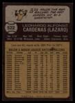 1973 Topps #522  Leo 'Chico' Cardenas  Back Thumbnail