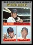 1970 Topps #62  1969 AL Batting Leaders  -  Rod Carew / Tony Oliva / Reggie Smith Front Thumbnail