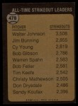 1973 Topps #478  All-Time Strikeout Leader  -  Walter Johnson Back Thumbnail
