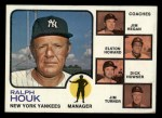 1973 Topps #116 BRN  -  Ralph Houk / Jim Hegan /  Elston Howard / Dick Howser / Jim Turner Yankees Leaders Front Thumbnail