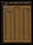 1973 Topps #1  All Time HR Leaders  -  Hank Aaron / Babe Ruth / Willie Mays Back Thumbnail