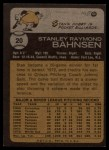 1973 Topps #20   Stan Bahnsen Back Thumbnail