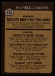 1973 Topps #179 ORG A's Field Leaders  -  Dick Williams / Jerry Adair / Vern Hoscheit / Irv Noren / Wes Stock Back Thumbnail