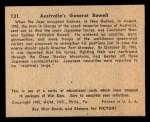 1941 Gum Inc. War Gum #131   Australia's General Rowell Back Thumbnail