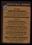 1973 Topps #377  Expos Leaders  -  Gene Mauch / Dave Bristol / Larry Doby / Cal McLish / Jerry Zimmrman Back Thumbnail