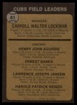 1973 Topps #81 NAT Cubs Field Leaders  -  Whitey Lockman / Hank Aguirre / Ernie Banks / Larry Jansen / Pete Resier Back Thumbnail