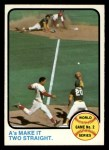 1973 Topps #204  1972 World Series - Game #2 - A's Make it Two Straight Johnny Bench / Tony Perez / Mike Hegan / Dick Green Front Thumbnail