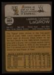 1973 Topps #369   Lerrin LaGrow Back Thumbnail