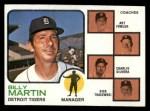 1973 Topps #323  Tigers Leaders  -  Billy Martin / Art Fowler / Joe Schultz / Charlie Silvera / Dick Tracewski Front Thumbnail